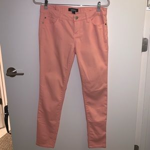 Bright pink stretchy jeans